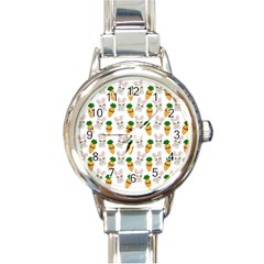 Easter Kawaii Pattern Round Italian Charm Watch