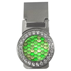 Green Mermaid Scale Money Clips (cz)  by snowwhitegirl