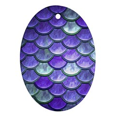Blue Purple Mermaid Scale Oval Ornament (two Sides) by snowwhitegirl