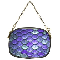 Blue Purple Mermaid Scale Chain Purses (two Sides)  by snowwhitegirl