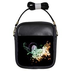 Wonderful Unicorn With Flowers Girls Sling Bags by FantasyWorld7