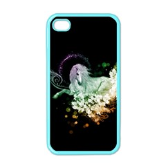 Wonderful Unicorn With Flowers Apple Iphone 4 Case (color) by FantasyWorld7