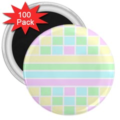 Geometric Pastel Design Baby Pale 3  Magnets (100 Pack)