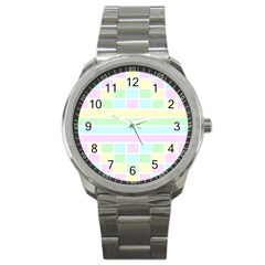 Geometric Pastel Design Baby Pale Sport Metal Watch