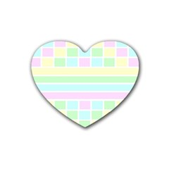 Geometric Pastel Design Baby Pale Rubber Coaster (heart)