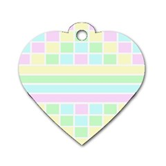 Geometric Pastel Design Baby Pale Dog Tag Heart (one Side)