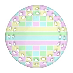 Geometric Pastel Design Baby Pale Ornament (round Filigree)