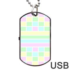 Geometric Pastel Design Baby Pale Dog Tag Usb Flash (one Side) by Nexatart