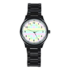 Geometric Pastel Design Baby Pale Stainless Steel Round Watch by Nexatart