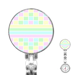 Geometric Pastel Design Baby Pale Stainless Steel Nurses Watch