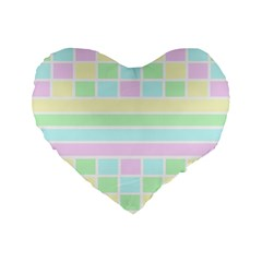 Geometric Pastel Design Baby Pale Standard 16  Premium Flano Heart Shape Cushions