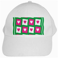 Pink Hearts Valentine Love Checks White Cap
