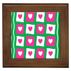 Pink Hearts Valentine Love Checks Framed Tiles