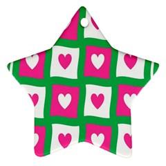 Pink Hearts Valentine Love Checks Ornament (star)