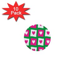 Pink Hearts Valentine Love Checks 1  Mini Buttons (10 Pack)  by Nexatart