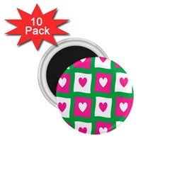 Pink Hearts Valentine Love Checks 1 75  Magnets (10 Pack)