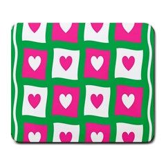 Pink Hearts Valentine Love Checks Large Mousepads