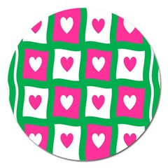 Pink Hearts Valentine Love Checks Magnet 5  (round)