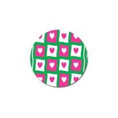 Pink Hearts Valentine Love Checks Golf Ball Marker (4 Pack)