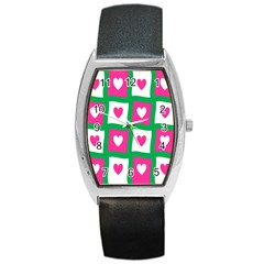 Pink Hearts Valentine Love Checks Barrel Style Metal Watch