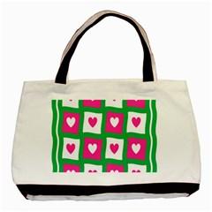 Pink Hearts Valentine Love Checks Basic Tote Bag