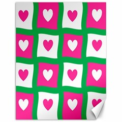 Pink Hearts Valentine Love Checks Canvas 12  X 16