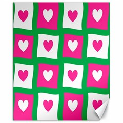 Pink Hearts Valentine Love Checks Canvas 16  X 20
