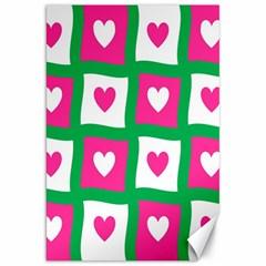 Pink Hearts Valentine Love Checks Canvas 20  X 30