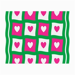 Pink Hearts Valentine Love Checks Small Glasses Cloth (2 Side) by Nexatart