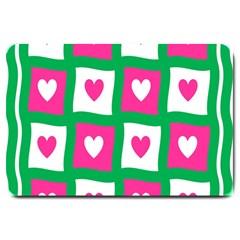 Pink Hearts Valentine Love Checks Large Doormat