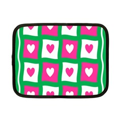 Pink Hearts Valentine Love Checks Netbook Case (small)  by Nexatart