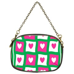 Pink Hearts Valentine Love Checks Chain Purses (one Side)