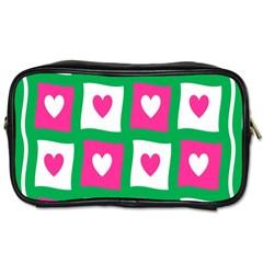 Pink Hearts Valentine Love Checks Toiletries Bags 2 Side by Nexatart