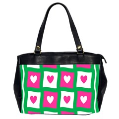 Pink Hearts Valentine Love Checks Office Handbags (2 Sides)