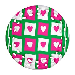 Pink Hearts Valentine Love Checks Round Filigree Ornament (two Sides)