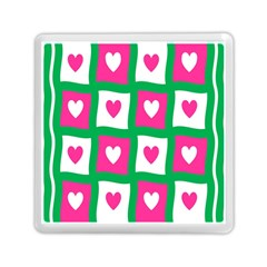 Pink Hearts Valentine Love Checks Memory Card Reader (square)