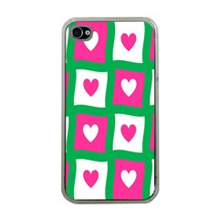 Pink Hearts Valentine Love Checks Apple Iphone 4 Case (clear) by Nexatart