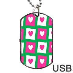 Pink Hearts Valentine Love Checks Dog Tag Usb Flash (one Side)