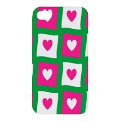 Pink Hearts Valentine Love Checks Apple Iphone 4/4s Hardshell Case