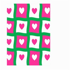 Pink Hearts Valentine Love Checks Large Garden Flag (two Sides) by Nexatart