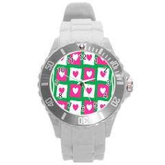 Pink Hearts Valentine Love Checks Round Plastic Sport Watch (l)