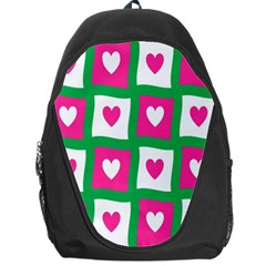 Pink Hearts Valentine Love Checks Backpack Bag by Nexatart