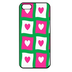 Pink Hearts Valentine Love Checks Apple Iphone 5 Seamless Case (black)