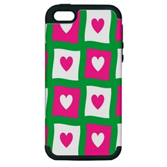 Pink Hearts Valentine Love Checks Apple Iphone 5 Hardshell Case (pc+silicone)