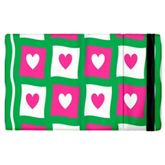 Pink Hearts Valentine Love Checks Apple Ipad 3/4 Flip Case