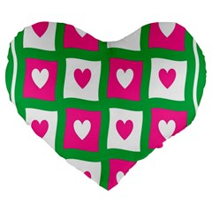 Pink Hearts Valentine Love Checks Large 19  Premium Heart Shape Cushions