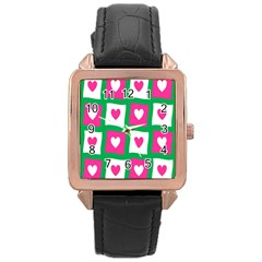 Pink Hearts Valentine Love Checks Rose Gold Leather Watch