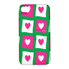 Pink Hearts Valentine Love Checks Apple Iphone 4/4s Hardshell Case With Stand by Nexatart
