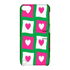 Pink Hearts Valentine Love Checks Apple Ipod Touch 5 Hardshell Case With Stand