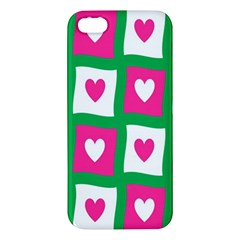 Pink Hearts Valentine Love Checks Apple Iphone 5 Premium Hardshell Case by Nexatart